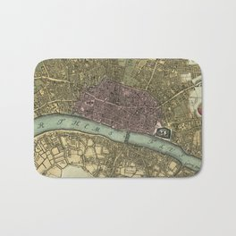 Vintage Map of London England (1740) Bath Mat