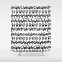 aliens Shower Curtains featuring Aliens by audreymalo