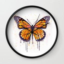 Monarch Butterfly watercolor Wall Clock