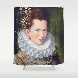 Portrait of Court Lady with Dog Shower Curtain