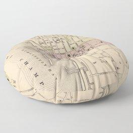 Vintage Map of Burlington Vermont (1873) Floor Pillow