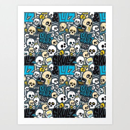 Skullz & Lulz Pattern Art Print
