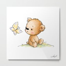 Drawing of cute teddy bear with butterfly Metal Print