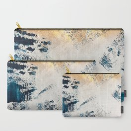 Sunset [1]: a bright, colorful abstract piece in blue, gold, and white by Alyssa Hamilton Art Carry-All Pouch