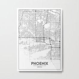 Minimal City Maps - Map Of Phoenix, Arizona, United States Metal Print