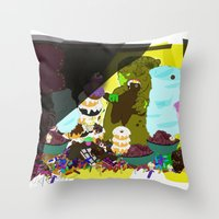 cookie monster Throw Pillows featuring Cookie Monster by Vito Giorgio