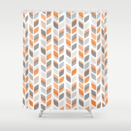 Modern Rectangle Print with Retro Abstract Leaf Pattern Shower Curtain