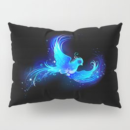 Blue Flame Bird Phoenix Pillow Sham