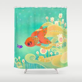 The golden meeting Shower Curtain