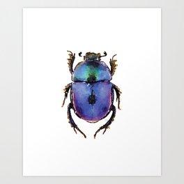 Blue ombre beetle watercolor Art Print