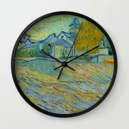 """Vincent van Gogh """"Vue de l'asile et de la Chapelle de Saint-Rémy"""" Wall Clock"""