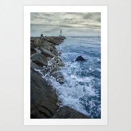 Splashing on the Jetty Coastal Landscape Photograph Art Print