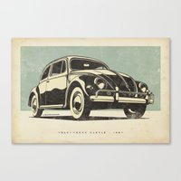 volkswagon Canvas Prints featuring Volkswagon Beetle - 1957 by dooderwear
