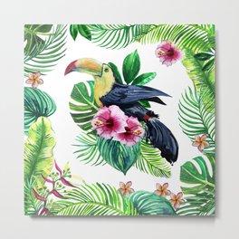 watercolors bird toucan and tropical leaves Metal Print