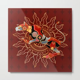 Red Lion Batik Metal Print