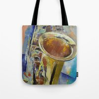saxophone Tote Bags featuring Saxophone by Michael Creese