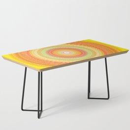 Bright Yellow Orange Mandala Coffee Table