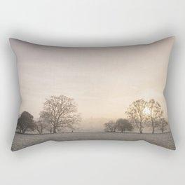 Sunrise through fog on a frosty morning. Santon Downham, Norfolk, UK. Rectangular Pillow