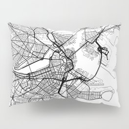 Boston Map White Pillow Sham