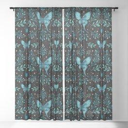 Mystical Luna Moth - Turquoise Sheer Curtain
