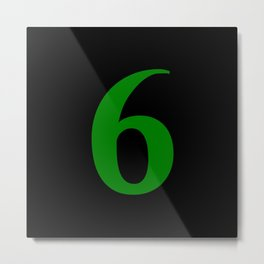 6 (GREEN & BLACK NUMBERS) Metal Print