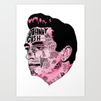 johnny cash Art Prints featuring Johnny Cash by Nick Cocozza