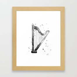 Harp, black and white Framed Art Print