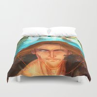 justice Duvet Covers featuring Torn Justice by J-Spence