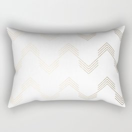 Simply Deconstructed Chevron White Gold Sands on White Rectangular Pillow
