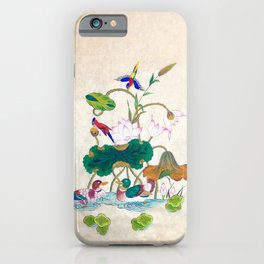 Minhwa: Lotus and Mallards (Korean traditional/folk art) iPhone Case