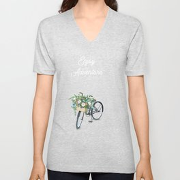 Enjoy the Adventure City and Bicycle on Black Background Unisex V-Neck