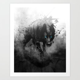 Steppen Wolf - Black Wolf Blue Eyes Art Print