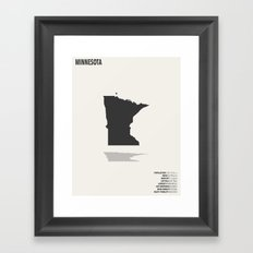 Minnesota Minimalist State Map with Stats Framed Art Print