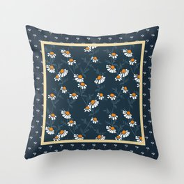 Chamomile Collection - Tea Time Blue Throw Pillow