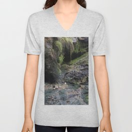 Moss Covered Cliff Face Unisex V-Neck