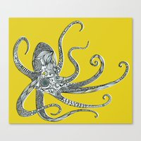 octopus Canvas Prints featuring Octopus by Rachel Russell