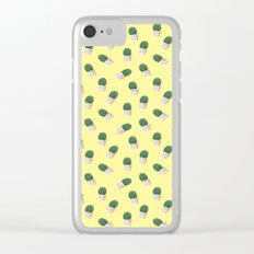 Cute Cactus Yellow Pattern Clear iPhone Case