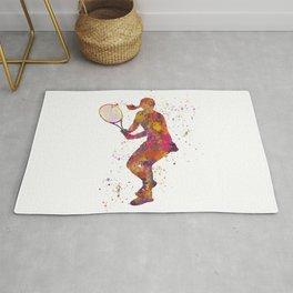 Woman plays tennis in watercolor 08 Rug