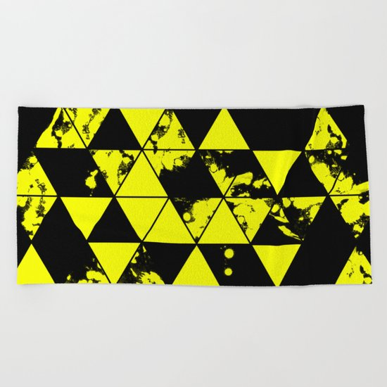 Splatter Triangles In Black And Yellow Beach Towel