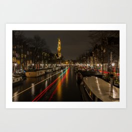 Amsterdam Canal with Boat and Bike Trails  Art Print