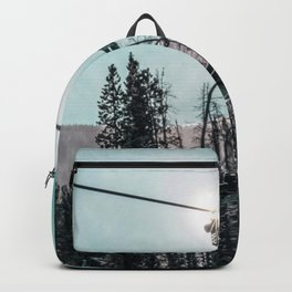 Empty Skilift // Dark Blue and Teal Snowboarding Dreaming of Winter Backpack