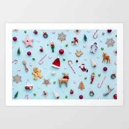 Collection of Christmas objects viewed from above Art Print