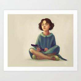 Girl and her pet Art Print