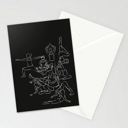 Chalkboard Yoga Pattern - white on black Stationery Cards
