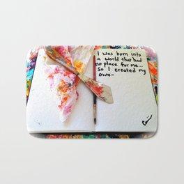 Motivational Quotes: Acrylic Alchemy Art Journal-My World Bath Mat