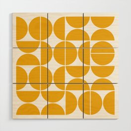 Mid Century Modern Geometric 04 Yellow Wood Wall Art