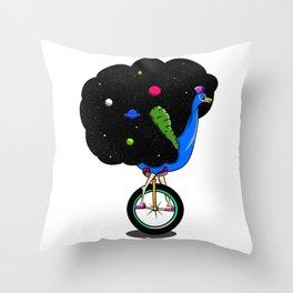 Peacock riding a bike Throw Pillow