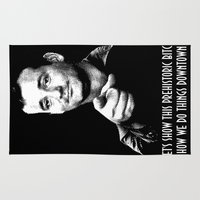 bill murray Area & Throw Rugs featuring Ghostbuster Quote Bill Murray by Spyck
