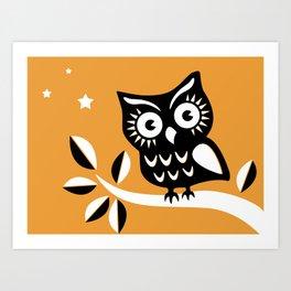 Cute Night Owl Illustration Art Print