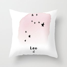 Leo Star sign, Constellation, Astrology, Horoscope, Zodiac Pink Watercolor Throw Pillow